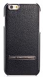 G-Case iPhone 6 Plus / 6S Plus Standlı Deri Siyah Rubber Kılıf