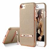 G-Case iPhone 7 / 8 Standlı Deri Gold Rubber Kılıf