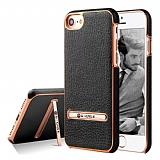 G-Case iPhone 7 / 8 Standlı Deri Siyah Rubber Kılıf