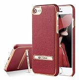 G-Case iPhone 7 / 8 Standlı Deri Kırmızı Rubber Kılıf