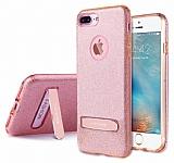 G-Case iPhone 7 Plus Standlı Simli Pembe Silikon Kılıf