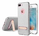 G-Case iPhone 7 Plus Standlı Simli Silver Silikon Kılıf