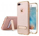 G-Case iPhone 7 Plus Standlı Simli Gold Silikon Kılıf