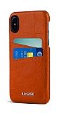 G-Case Koco iPhone X / XS Kartlıklı Kırmızı Deri Kılıf