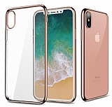 G-Case Plating iPhone X / XS Rose Gold Kenarlı Şeffaf Silikon Kılıf