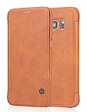 G-Case Samsung Galaxy S6 Edge Plus Kapaklı Kahverengi Deri Kılıf