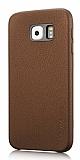 G-Case Samsung Galaxy S6 Edge Plus Deri Görünümlü Kahverengi Rubber Kılıf