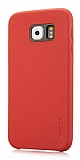 G-Case Samsung Galaxy S6 Edge Plus Deri Görünümlü Kırmızı Rubber Kılıf