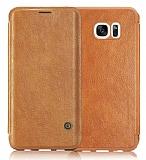 G-Case Samsung Galaxy S7 Cüzdanlı İnce Yan Kapaklı Kahverengi Deri Kılıf