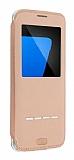 G-Case Samsung Galaxy S7 Manyetik Kapaklı Pencereli Gold Deri Kılıf