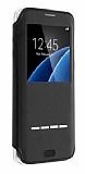 G-Case Samsung Galaxy S7 Manyetik Kapaklı Pencereli Siyah Deri Kılıf