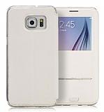 G-Case Sense II Samsung Galaxy S6 Edge Plus Manyetik Kapaklı Pencereli Beyaz Deri Kılıf