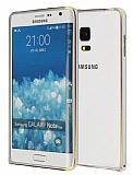 Eiroo Samsung Galaxy Note Edge Gold Çizgili Round Metal Bumper Çerçeve Silver Kılıf