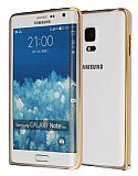 Eiroo Samsung Galaxy Note Edge Gold Çizgili Round Metal Bumper Çerçeve Gold Kılıf