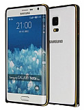 Eiroo Samsung Galaxy Note Edge Gold Çizgili Round Metal Bumper Çerçeve Siyah Kılıf