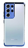 Eiroo Radiant Samsung Galaxy S21 Ultra Mavi Kenarlı Şeffaf Silikon Kılıf