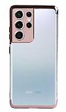 Eiroo Radiant Samsung Galaxy S21 Ultra Rose Gold Kenarlı Şeffaf Silikon Kılıf
