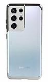Eiroo Radiant Samsung Galaxy S21 Ultra Gri Kenarlı Şeffaf Silikon Kılıf