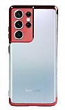 Eiroo Radiant Samsung Galaxy S21 Ultra Kırmızı Kenarlı Şeffaf Silikon Kılıf