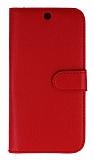 General Mobile Android One Cüzdanlı Yan Kapaklı Kırmızı Deri Kılıf