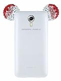 General Mobile Android One / General Mobile GM 5 Taşlı Kulaklı Kırmızı Silikon Kılıf