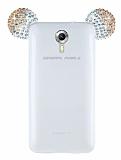 General Mobile Android One / General Mobile GM 5 Taşlı Kulaklı Gold Silikon Kılıf