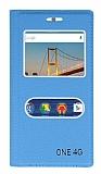General Mobile Android One Gizli Mıknatıslı Çift Çerçeveli Mavi Deri Kılıf