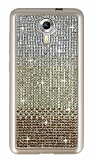 General Mobile Android One Taşlı Geçişli Gold Silikon Kılıf