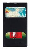 LG L80 Pencereli İnce Yan Kapaklı Siyah Deri Kılıf