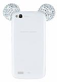 General Mobile Discovery Taşlı Kulaklı Silver Silikon Kılıf