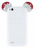 General Mobile Discovery Taşlı Kulaklı Kırmızı Silikon Kılıf