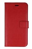 General Mobile GM 5 Cüzdanlı Kapaklı Kırmızı Deri Kılıf