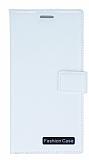 Eiroo Lux General Mobile GM 5 Plus Standlı Cüzdanlı Beyaz Deri Kılıf