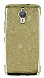 General Mobile GM 5 Plus Simli Gold Silikon Kılıf