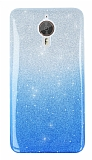 General Mobile GM 5 Plus Simli Mavi Silikon Kılıf
