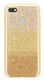 General Mobile GM 8 GO Taşlı Geçişli Gold Silikon Kılıf