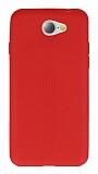 General Mobile GM6 Deri Desenli Ultra İnce Kırmızı Silikon Kılıf