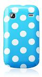 Samsung Galaxy Gio S5660 Beyaz Puantiyeli Mavi Silikon K�l�f