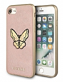 Guess iPhone 7 / 8 Kelebek Deri Pembe Rubber Kılıf