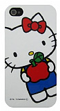 Hello Kitty iPhone 4 / 4S Elmal� Beyaz Sert Parlak K�l�f