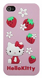 Hello Kitty iPhone 4 / 4S �ilekli Pembe Silikon K�l�f