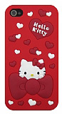 Hello Kitty iPhone 4 / 4S Kalpli K�rm�z� Silikon K�l�f