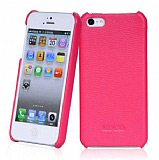 Hoco Apple iPhone 5 / 5S L�x Pembe Deri K�l�f