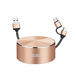 Hoco U23 Makaralı Lightning ve Micro USB Data Kablosu
