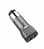 Hoco UC201 Çift USB Girişli Dark Silver Araç Şarjı