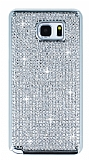 Hojar Samsung Galaxy Note 5 Taşlı Silver Rubber Kılıf