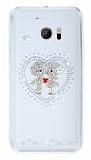 HTC 10 Taşlı Love Şeffaf Silikon Kılıf