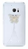 HTC 10 Taşlı Kelebek Şeffaf Silikon Kılıf