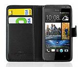 HTC Desire 300 Cüzdanlı Yan Kapaklı Siyah Kılıf