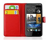 HTC Desire 300 C�zdanl� Yan Kapakl� K�rm�z� K�l�f